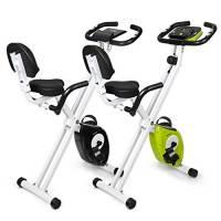 INTEY Cyclette Magnetica Fitness Bike Pieghevole, Resistenza Regolabile a 16 Velocità, Cyclette da Allenamento con Impugnatura a Impulsi e Display LCD, Verde