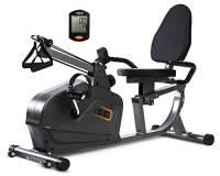 ISE 2-in-1 Cyclette Orizzontale Magnetico, Fitness Bicicletta, Recupero & Esercizi per Braccia e Gambe, Regolabile Resistenza Magnetica a 8 Livelli, Supersilenzioso, Ruote di Trasporto, SY-6910