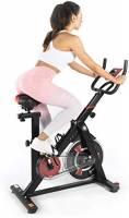 ISE SY-7021 - Cyclette da interni per fitness, resistenza regolabile, schermo LCD silenzioso, per casa, max 120 kg, colore: Nero
