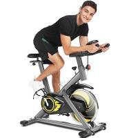 ANCHEERCyclette da Casa, Bici da Spinning, Esercizio di Bicicletta,Volantino di Inerzia 18 kg, Display LCD, Sensore di Impuls, Collega con l'App Manubrio e Sella Regolabili, Portata 120 kg
