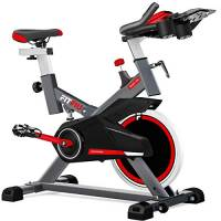 FITFIU Fitness BESP-100 - Spin Bike con Disco d'Inerzia da 16 Kg, Resistenza Regolabile, Bici da Allenamento Fitness con Sella Regolabile, Bicicletta da Interno con Cardiofrequenzimetro, Schermo LCD