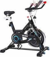 ANCHEER Bici da Spinning Cyclette con Volantino di Inerzia 22 kg Display LCD, Sensore di Impuls, Collega con l'App Manubrio e Sella Regolabili, Portata Massima 120 kg (Nero Volano 22kg)